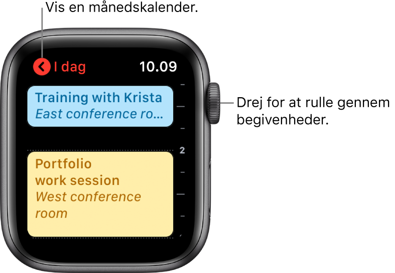 Skærmen Kalender, der viser en liste med dagens begivenheder.