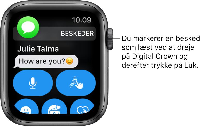En notifikation om en besked med symbolet for Beskeder øverst til venstre og beskeden nedenunder.