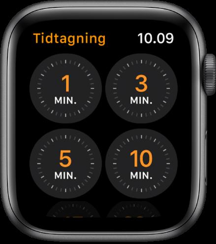 Skærm med appen Tidtagning, der viser hurtige tidtagere på 1, 3, 5 eller 10 minutter.