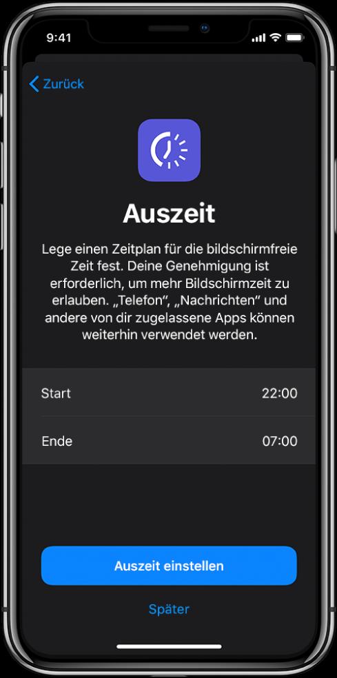 """iPhone mit der Anzeige zum Einrichten der Auszeit. In der Mitte kann die Start- und Endzeit gewählt werden. Die Tasten """"Auszeit"""" und """"Später"""" befinden sich unten."""