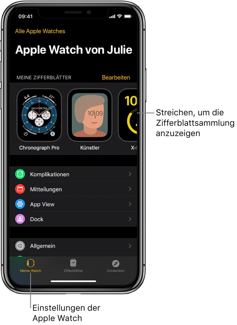 """Die App """"AppleWatch"""" auf dem iPhone öffnet sich mit dem Bildschirm """"Meine Watch"""", in dem oben deine Zifferblätter und unten die Einstellungen angezeigt werden. Unten in der App """"AppleWatch"""" befinden sich drei Tabs: Links der Tab """"Meine Watch"""" mit den Einstellungen für die AppleWatch, daneben die Zifferblattgalerie, in der du die verfügbaren Zifferblätter und Komplikationen durchsuchen kannst, rechts daneben der Tab """"Entdecken"""", wo du mehr über die AppleWatch erfährst."""