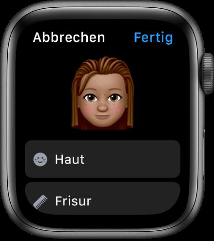 """Die App """"Memoji"""" auf der Apple Watch, in der oben ein Gesicht und darunter Optionen für die Hautfarbe und die Frisur zu sehen sind."""