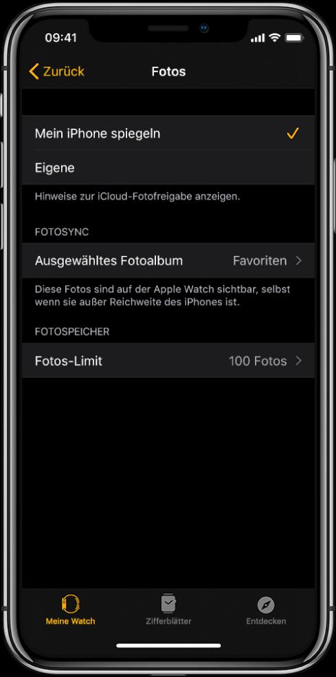 """Einstellungen für """"Fotos"""" in der App """"AppleWatch"""" auf dem iPhone mit der Einstellung """"Fotosync"""" in der Mitte und der Einstellung """"Fotos-Limit"""" darunter."""