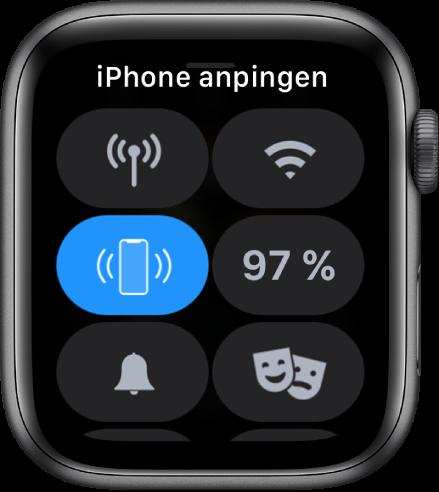 """Kontrollzentrum mit der Taste """"iPhone anpingen"""" in der Mitte links."""