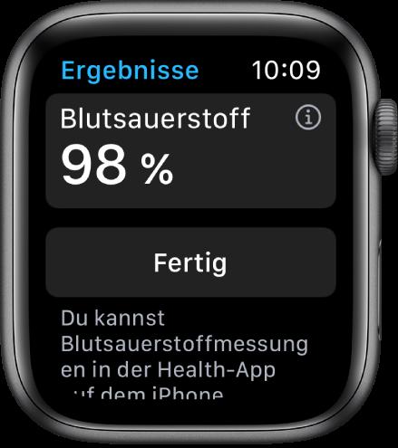 """Die Ergebnisse der App """"Blutsauerstoff"""" zeigen eine Sauerstoffsättigung im Blut von 98 Prozent. Unten befindet sich die Taste """"Fertig""""."""