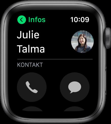"""Telefonbildschirm mit einem angezeigten Kontakt und den Tasten """"Anrufen"""" und """"Nachricht""""."""