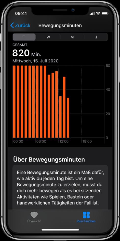 """iPhone mit einem Bericht über die Bewegungsminuten. Unten befinden sich die Tabs """"Übersicht"""" und """"Entdecken"""", der Tab """"Entdecken"""" ist ausgewählt."""