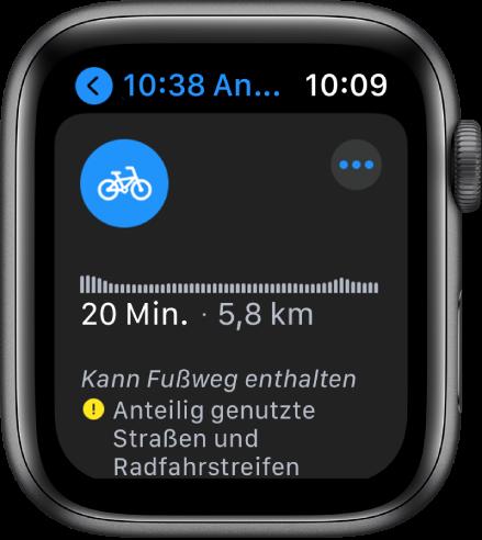 Die Apple Watch zeigt eine Fahrradroute mit einer Übersicht über Höhenunterschiede entlang der Strecke, die geschätzte Zeit und Entfernung sowie Hinweise auf eventuelle Probleme, die dich auf der Route erwarten könnten.