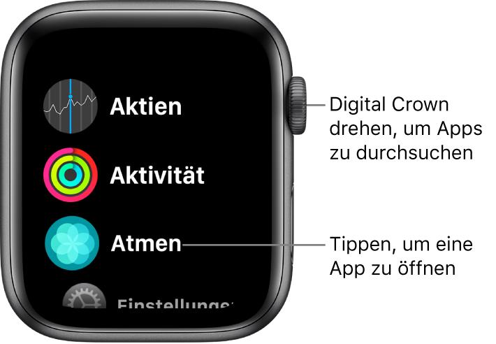 Home-Bildschirm in der Listendarstellung auf der Apple Watch mit Apps in einer Liste. Tippe auf eine App, um sie zu öffnen. Scrolle, um mehr Apps anzuzeigen.