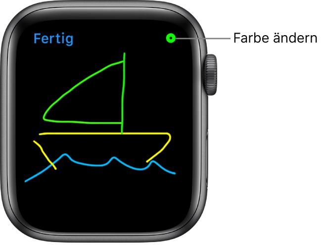 Der Zeichenbereich mit einer Skizze in der Mitte und der Farbauswahl oben rechts.