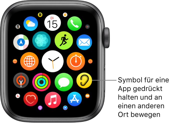 Home-Bildschirm auf der AppleWatch in der Rasterdarstellung.