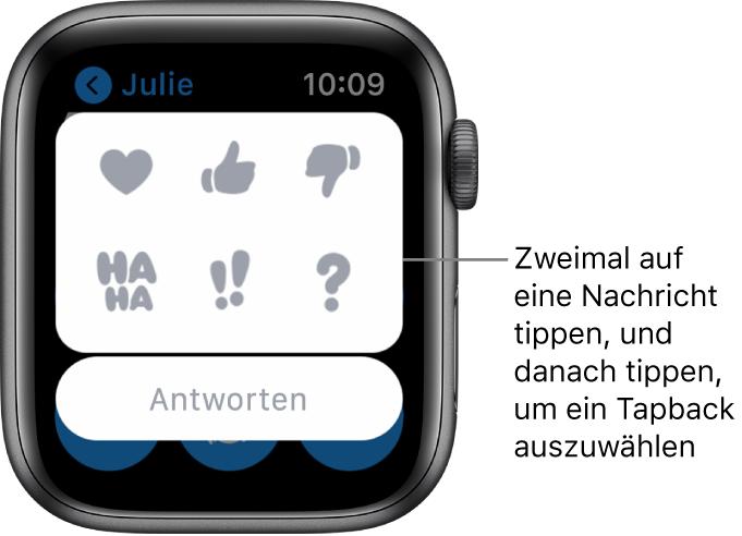 """Eine Konversation in """"Nachrichten"""" mit Optionen für Tapback: Herz, Daumen hoch, Daumen runter, Ha Ha, !! und ?. Darunter befindet sich die Taste """"Antworten""""."""