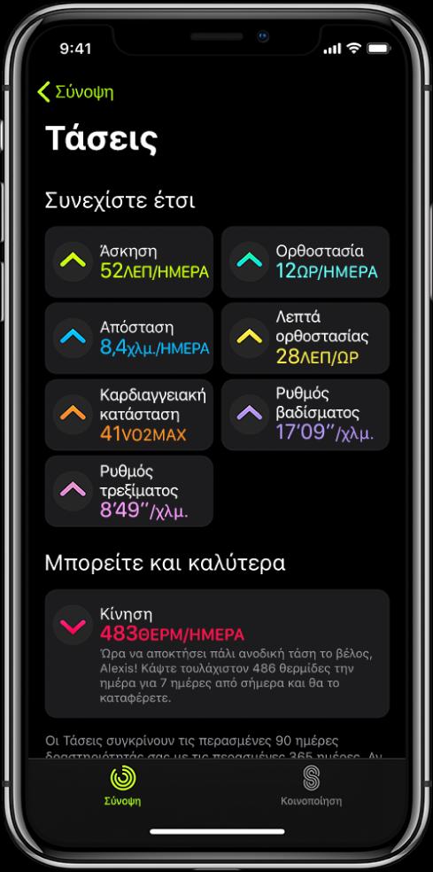 Η καρτέλα «Τάσεις» στην εφαρμογή «Δραστηριότητα» στο iPhone. Ένας αριθμός μετρήσεων εμφανίζονται κάτω από την επικεφαλίδα «Τάσεις» κοντά στο πάνω μέρος της οθόνης. Οι μετρήσεις περιλαμβάνουν την «Άσκηση», την «Ορθοστασία», την «Απόσταση», και άλλες. Η Μετακίνηση εμφανίζεται κάτω από την επικεφαλίδα «Αξίζει να δείτε».