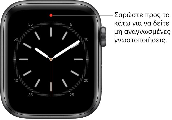 Μια κόκκινη κουκκίδα εμφανίζεται στη μέση της πάνω πλευράς της πρόσοψης ρολογιού όταν υπάρχει μη αναγνωσμένη γνωστοποίηση.