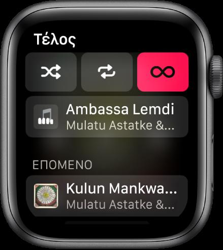 Το παράθυρο λίστας κομματιών όπου φαίνονται τα κουμπιά «Τυχαίας σειρά», «Επανάληψη» και «Αυτόματη αναπαραγωγή» στο πάνω μέρος και ένα κομμάτι ακριβώς από κάτω. Κοντά στο κάτω μέρος, εμφανίζεται ένα άλλο κομμάτι κάτω από το Επόμενο.
