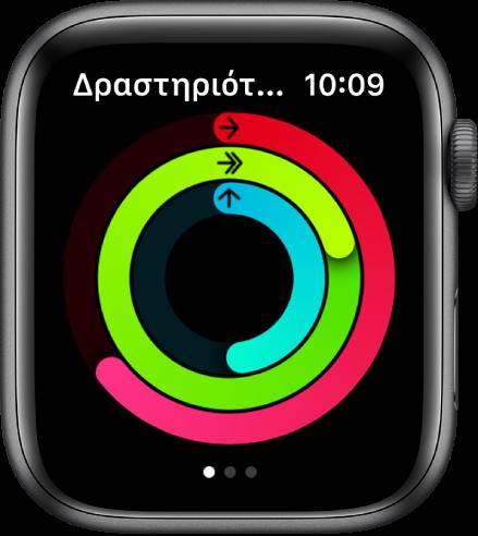 Η οθόνη Δραστηριότητας όπου φαίνονται οι τρεις κύκλοι—Κίνηση, Άσκηση και Ορθοστασία.