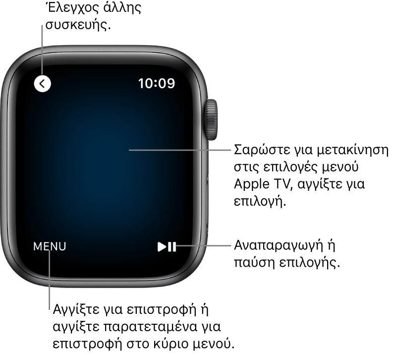 Η οθόνη του AppleWatch ενώ χρησιμοποιείται ως τηλεχειριστήριο. Το κουμπί Μενού βρίσκεται κάτω αριστερά και το κουμπί αναπαραγωγής/παύσης βρίσκεται κάτω δεξιά. Το κουμπί Πίσω βρίσκεται πάνω αριστερά.