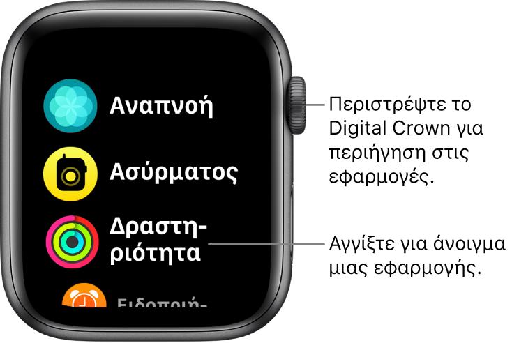 Η οθόνη Αφετηρίας σε προβολή λίστας στο Apple Watch, με εφαρμογές σε λίστα. Αγγίξτε μια εφαρμογή για να την ανοίξετε. Κάντε κύλιση για να δείτε περισσότερες εφαρμογές.