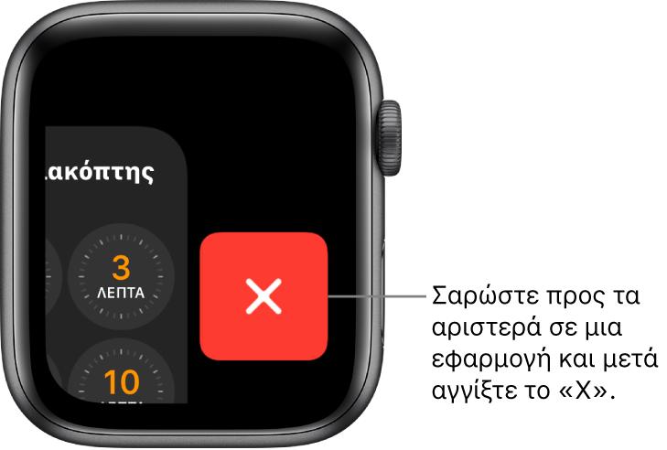Το Dock αφού σαρώσετε προς τα αριστερά σε μια εφαρμογή με το κουμπί X στα δεξιά.