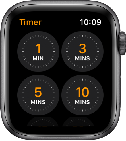 The Timer app screen, showing quick timers for 1, 3, 5, or 10 minutes.