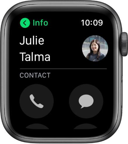 A Phone screen showing a contact and the Call and Message buttons.