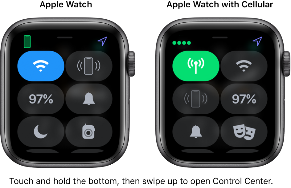 Two images: Apple Watch without cellular on the left, showing Control Center. The Wi-Fi button is at the top left, Ping iPhone button at the top right, Battery Percentage button at the center left, Silent Mode button at the center right, Do Not Disturb at the bottom left, and Walkie-Talkie button at the bottom right. The right image shows Apple Watch with cellular. Its Control Center shows the Cellular button at the top left, Wi-Fi button at the top right, Ping iPhone button at the center left, Battery Percentage button at the center right, Silent Mode button at the bottom left, and Do Not Disturb button at the bottom right.
