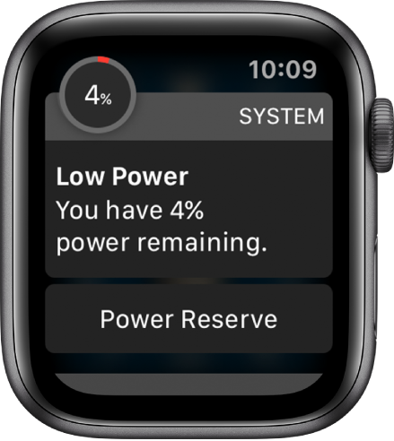 The low power alert includes a button you can tap to enter Power Reserve mode.