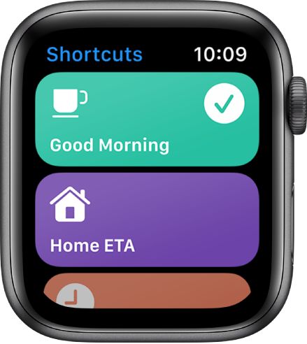 The Shortcuts app on Apple Watch showing two shortcuts—Good Morning and Home ETA.