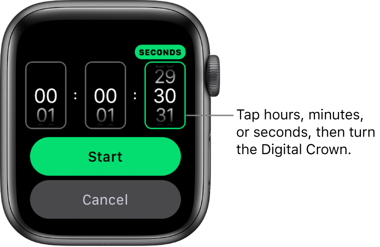 Settings for creating a custom timer, with the hour on the left, the minutes in the middle, and seconds on the right. Start and Cancel buttons are below.