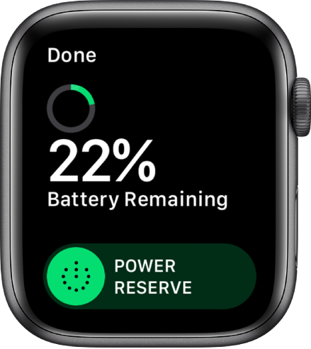 The Power Reserve screen showing the Done button at the top left, remaining battery percentage, and the Power Reserve slider.