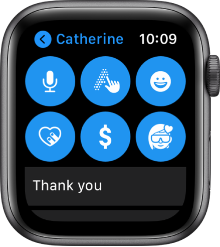 A Messages screen showing the Apple Pay button along with Dictate, Scribble, Emoji, Digital Touch, and Memoji buttons.