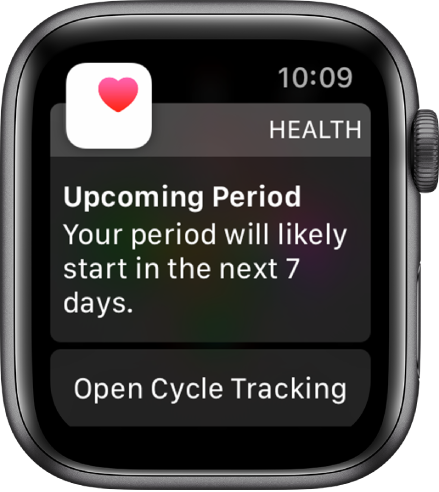 """Apple Watch showing a cycle prediction screen that reads """"Upcoming Period. Your period will likely start in the next 7 days."""" An Open Cycle Tracking button appears at the bottom."""