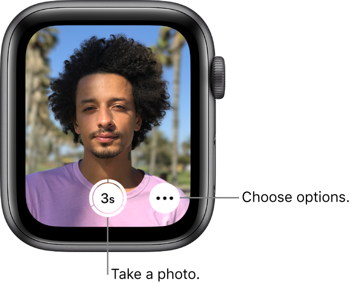 While being used as a camera remote, the Apple Watch screen shows what's in the iPhone camera's view. The Take Picture button is bottom center with the More Options button to its right. If you've taken a photo, the Photo Viewer button is at the bottom left.