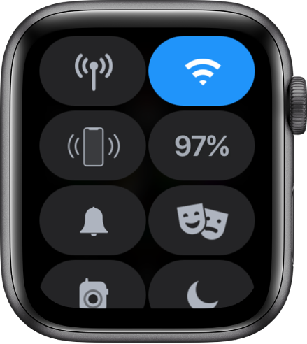Control Center showing eight buttons—Cellular, Wi-Fi, Ping iPhone, Battery, Silent Mode, Theater Mode, Walkie-Talkie, and Do Not Disturb.