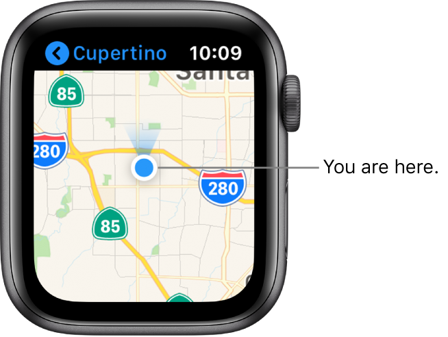 The Maps app showing a map. Your location is shown as a blue dot on the map. A blue fan is above the location dot, indicating that the watch is facing north.