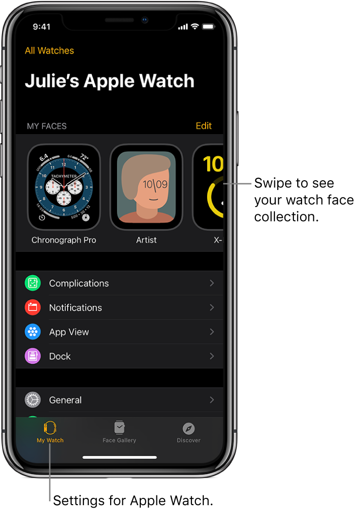 The Apple Watch app on iPhone open to the My Watch screen, which shows your watch faces near the top, and settings below. There are three tabs at the bottom of the Apple Watch app screen: the left tab is My Watch, where you go for Apple Watch settings; next is the Face Gallery, where you can explore available watch faces and complications; then Discover, where you can learn more about Apple Watch.
