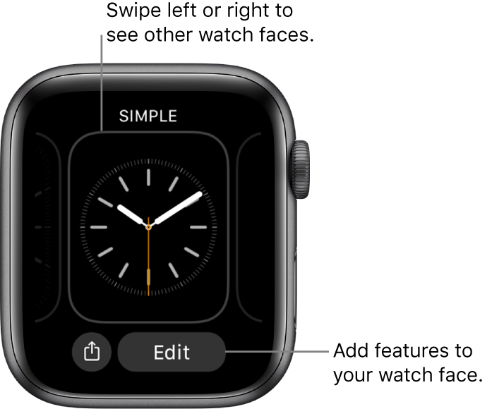 When you touch and hold the watch face, you see the current watch face with Share and Edit buttons at the bottom. Swipe left or right to see other watch face options. Tap a complication to add the features you want.