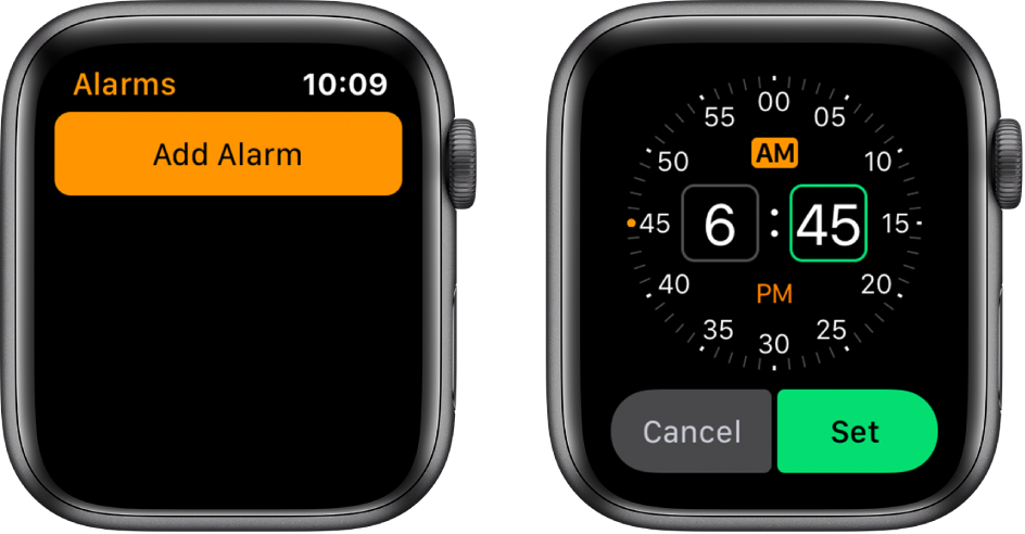 Two watch screens showing the process for adding an alarm: Tap Add Alarm, tap AM or PM, turn Digital Crown to adjust the time, then tap Set.