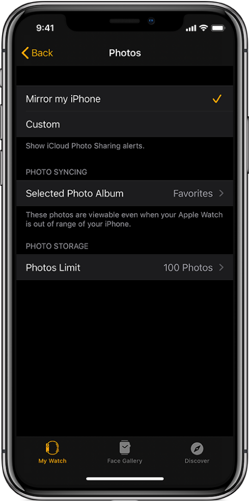 Photos settings in the Apple Watch app on iPhone, with the Photo Syncing setting in the middle, and Photos Limit setting below that.
