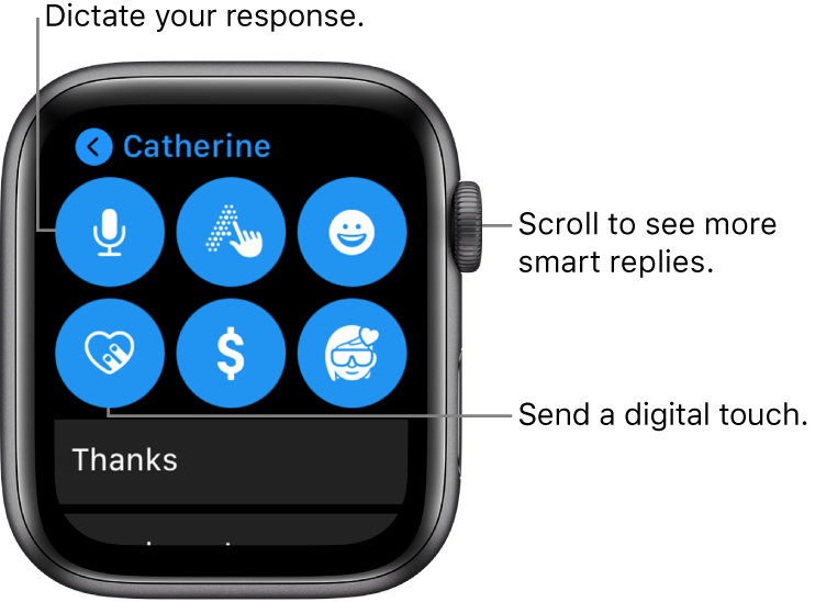 The reply screen showing Dictate, Scribble, Emoji, Digital Touch, Apple Pay, and Memoji buttons. Smart replies are below. Turn the Digital Crown to see more smart replies.