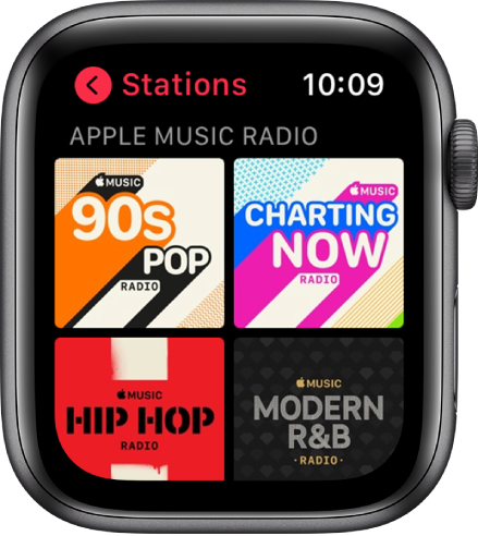 The Radio screen showing four Apple Music Radio stations.