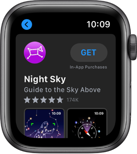 Apple Watch showing the App Store app. A search field appears near the top of the display with an app collection below.