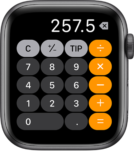 Apple Watch showing the Calculator app. The screen shows a typical number pad with math functions on the right. Along the top are C, plus or minus, and tip buttons.
