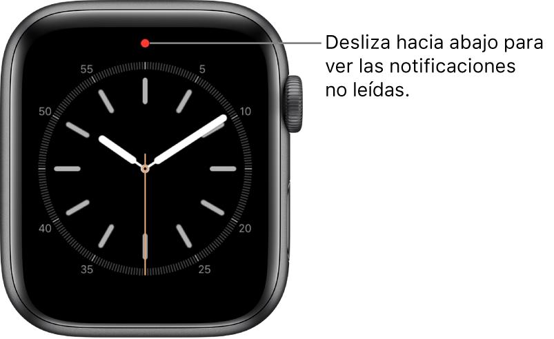 Cuando tienes una notificación sin leer, aparece un punto rojo en la parte superior central de la carátula.