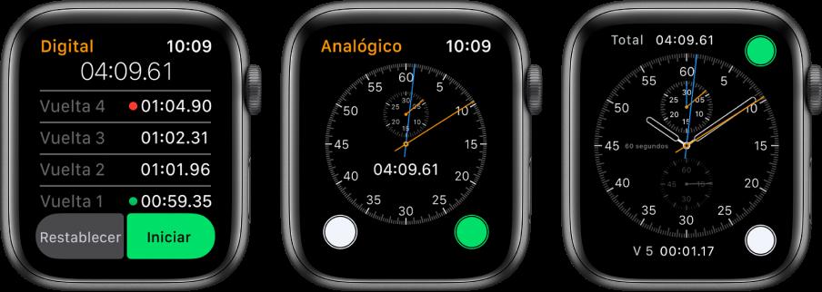 Tres carátulas mostrando tres tipos de cronómetros: uno digital en la app Cronómetro, uno análogo en la app, y los controles de cronómetro disponibles desde la carátula Cronógrafo.