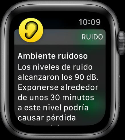 AppleWatch mostrando una notificación de ruido. El ícono de la app asociada con la notificación aparece en la esquina superior izquierda. Puedes tocarlo para abrir la app.