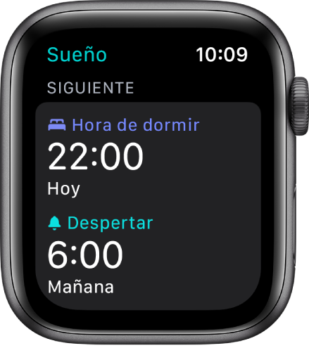 La app Sueño en el Apple Watch mostrando el horario de dormir de la noche. La hora de acostarse está establecida a las 10 p.m. y la alarma a las 6 a.m.