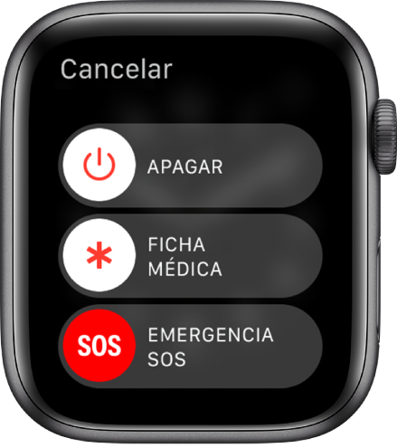 La pantalla del Apple Watch mostrando tres reguladores: Apagar, ficha médica y emergencia SOS. Arrastra el regulador de apagado para apagar el Apple Watch.
