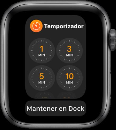 """La pantalla de la app Temporizador en el Dock, con el botón """"Mantener en Dock"""" debajo de ella."""