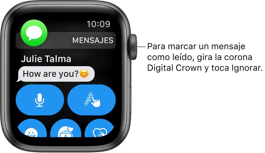 Un mensaje de notificación con el ícono Mensajes en la esquina superior izquierda y el mensaje debajo.